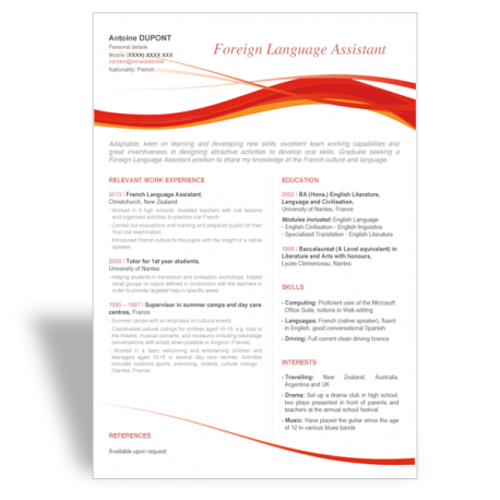 ... CV templates > Word CV Résumé template Foreign Language Assistant
