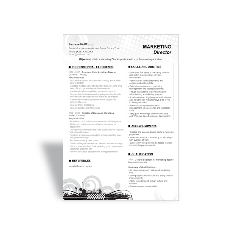 download word cv resume template marketing director