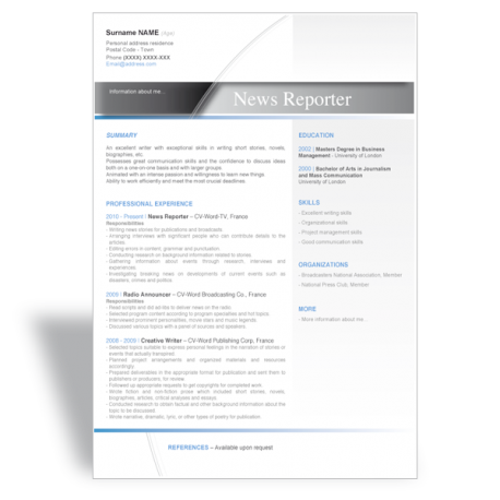 word cover letter template news reporter