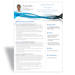 Word CV Résumé template Executive Assistant