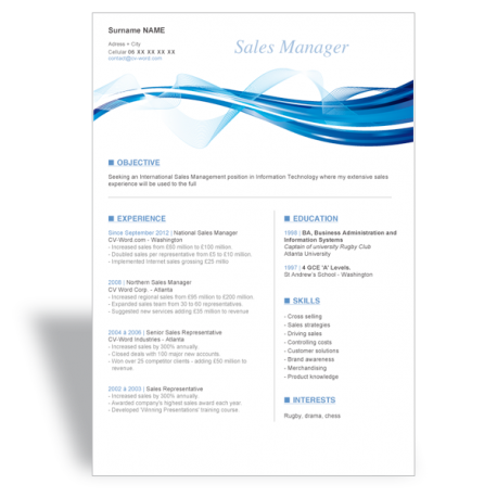 Word CV templates > Word Résumé CV template Sales Manager