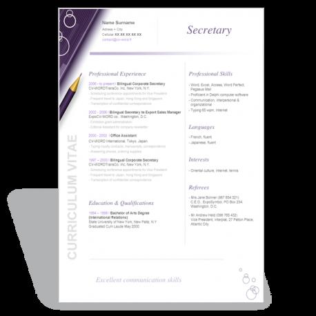 Résumé CV Secretary