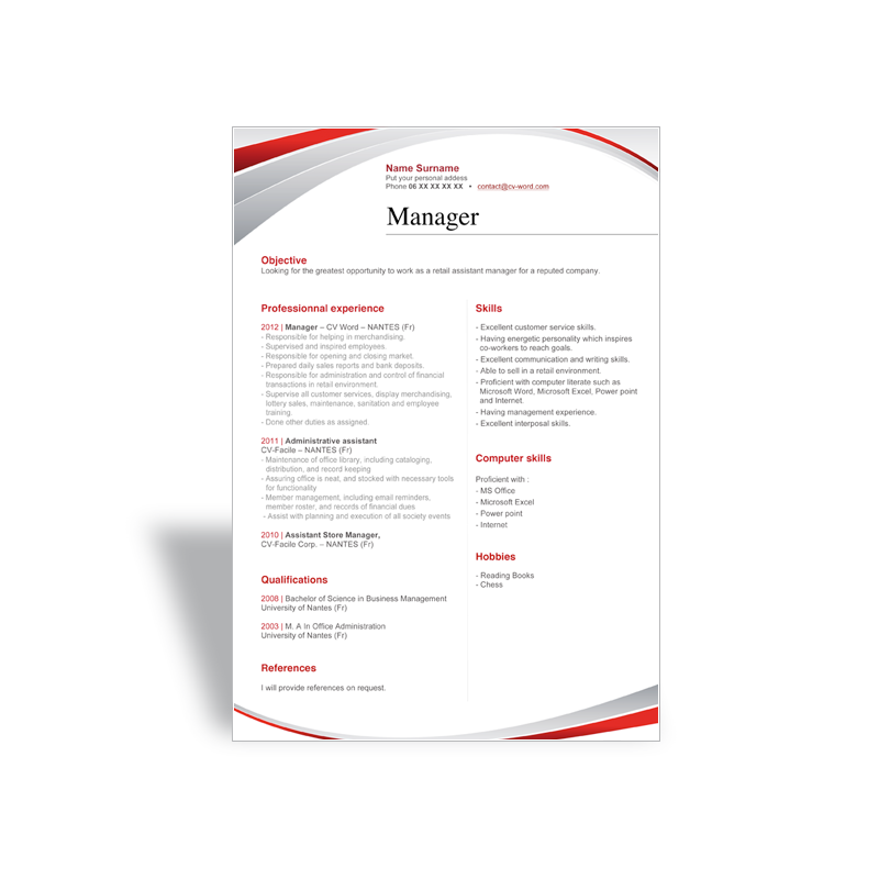 download and write a great word cv r u00e9sum u00e9 template manager