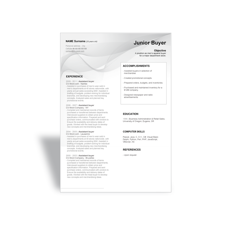download word curriculum vitae cv resume templates junior buyer