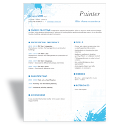 Word CV Résumé template Painter