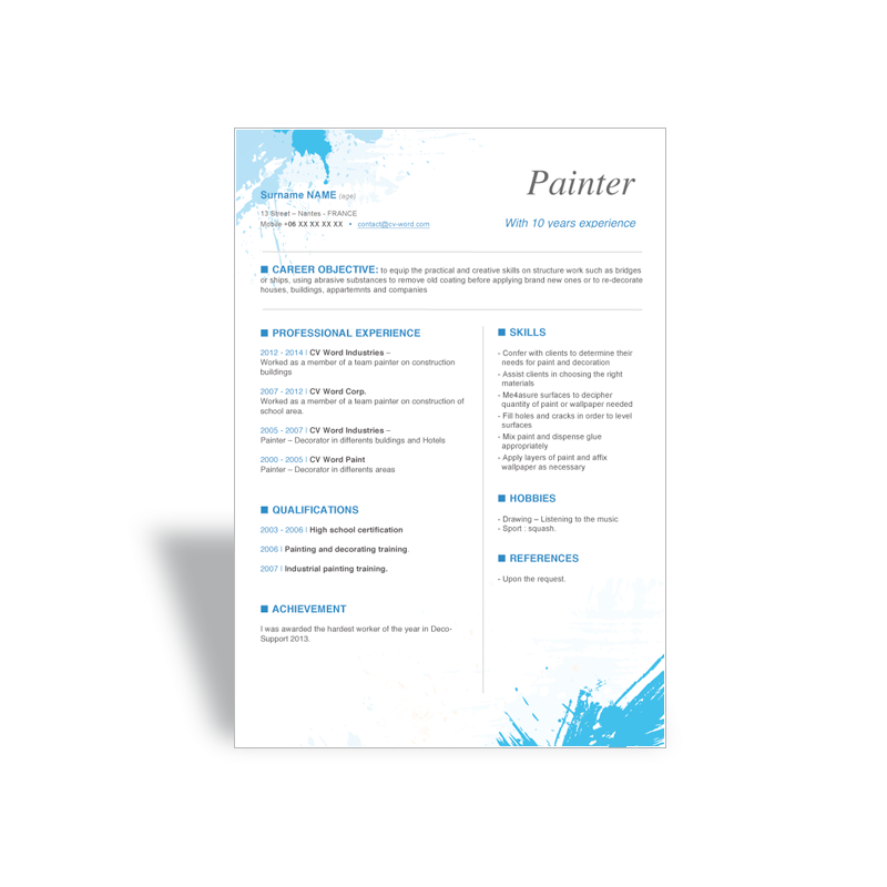 download word cv r u00e9sum u00e9 template painter