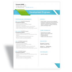 Word CV Résumé template Development Engineer