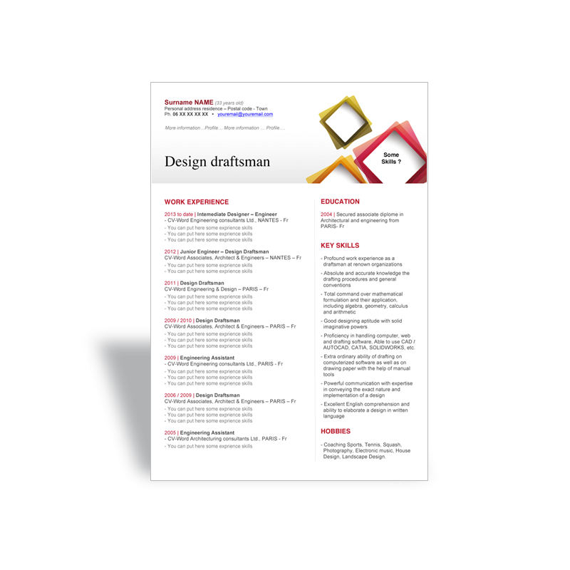 Word CV résumé template Design Draftsman - Word resume CV templates