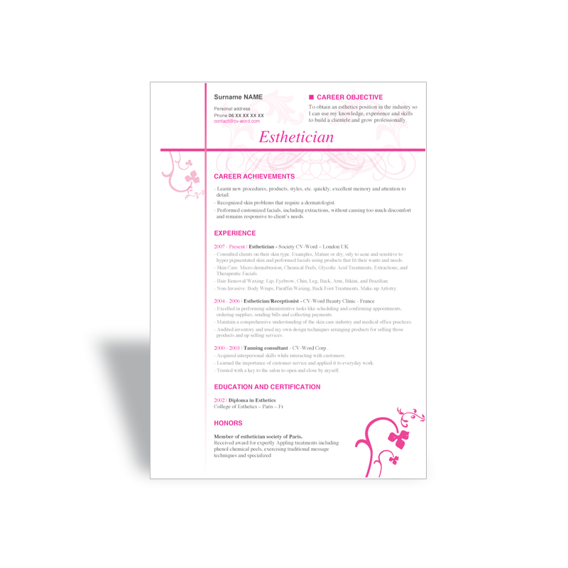 download curriculum vitae cv resume word template esthetician