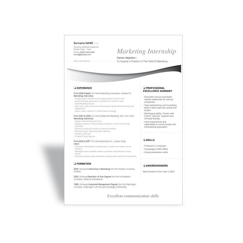download perfect word cv resume template marketing